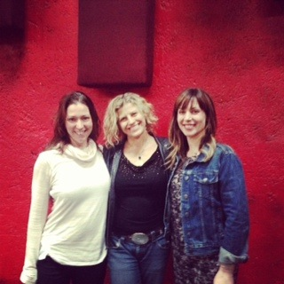 Aerialist Bianca Sappetto, Yours Truly, and author/performer/mom/rockwife Jillian Lauren. Physical Text workshop, Fais Do-Do Lounge. Los Angeles, CA.