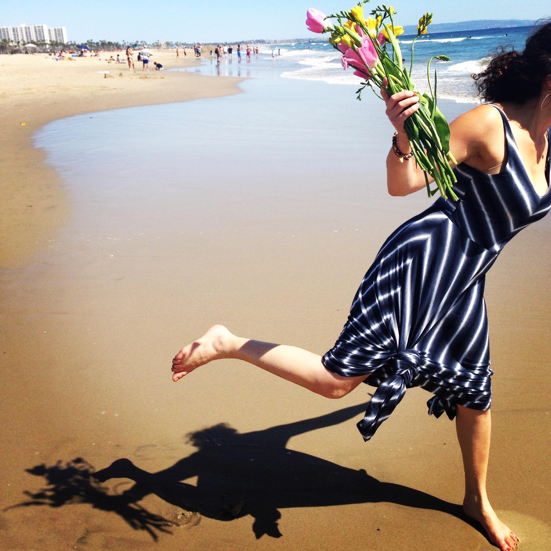 """Sharing Your Story Will Set You Free"" Charu In Motion. Charu Morgan, Santa Monica Beach, CA.  May 2014"
