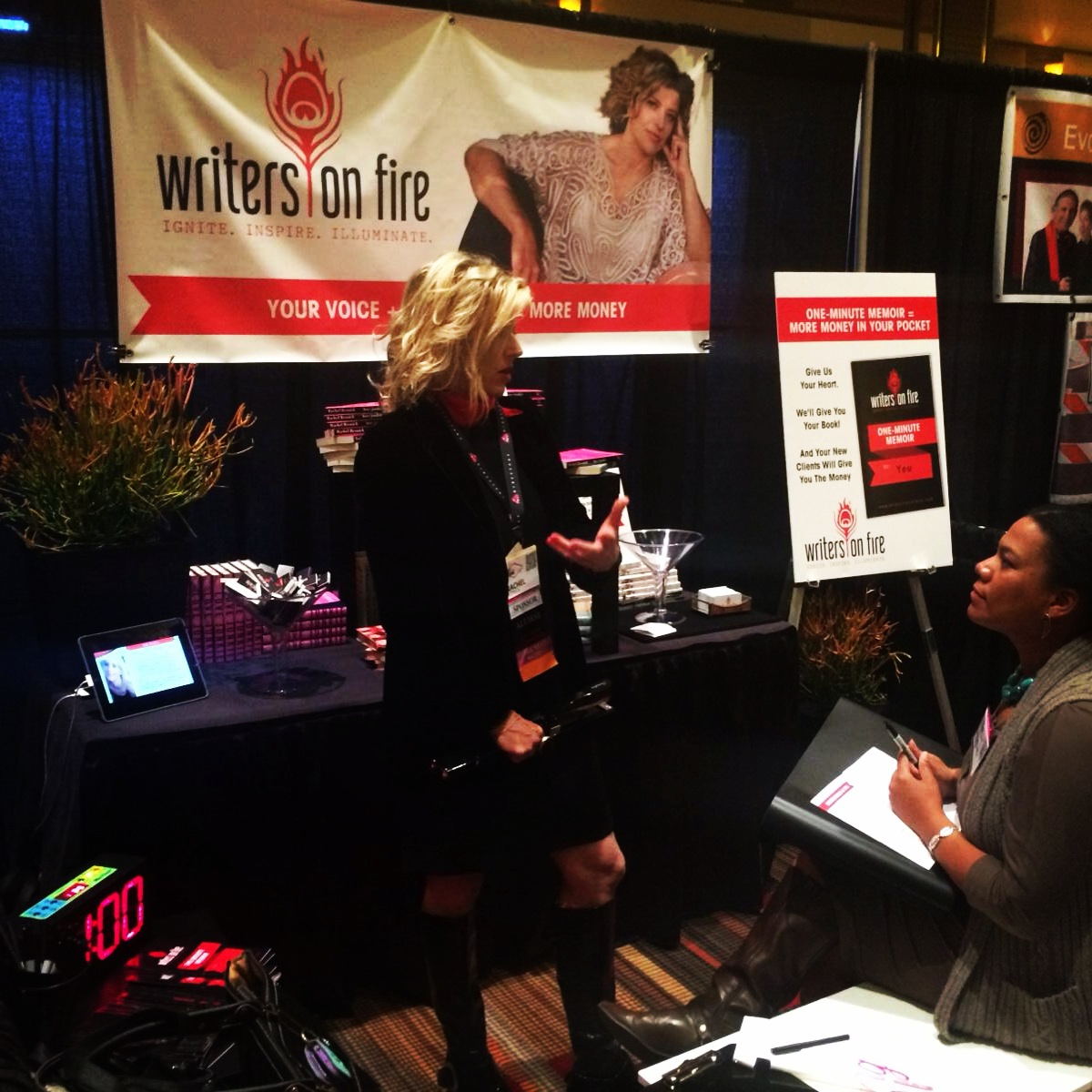 Birth of the One-Minute Memoir! Our first writer, Kimeiko Vision, at the Writers On Fire booth. Be The Change, 2014. Las Vegas, NV.