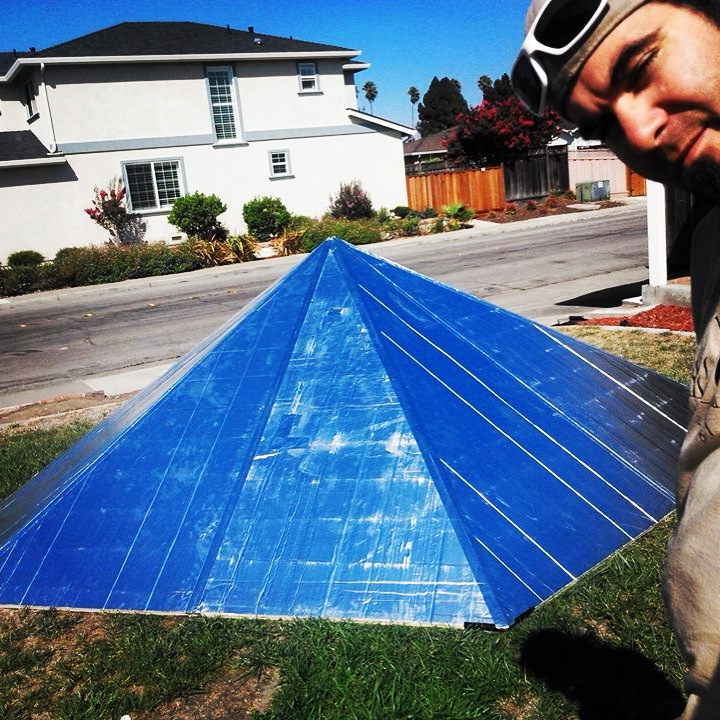 Hexayurt roof and Ricochet, aka Richard Wesela.  Fremont, CA.  August 2014