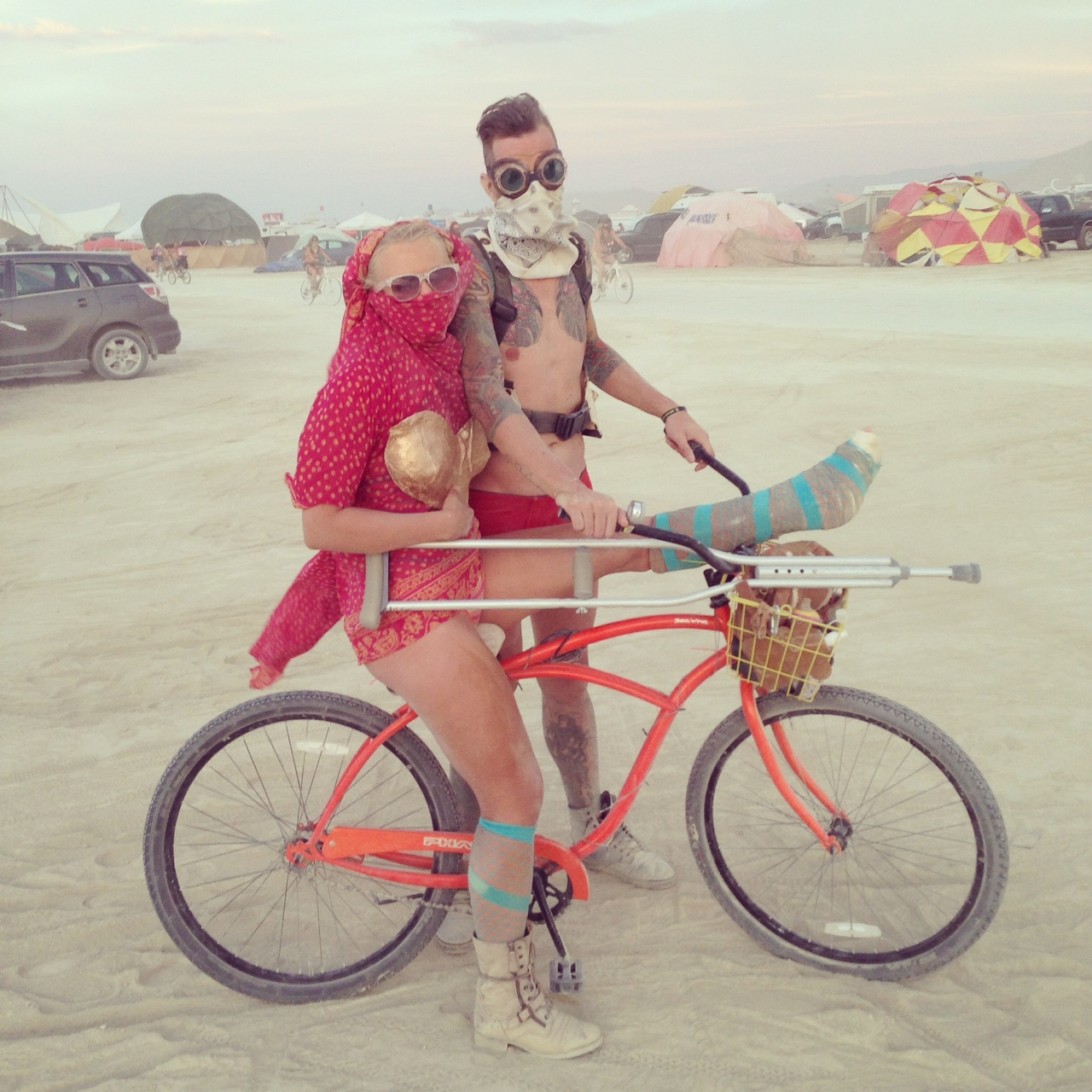Ann + Tim on the Playa. Burning Man 2014. Black Rock City, NV.