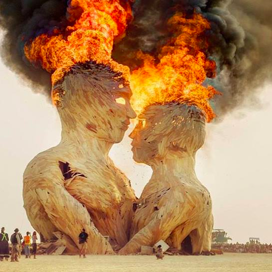Burning Man Embrace. The Great Heads. Black Rock City, NV. Photo:  Graphic Arshen