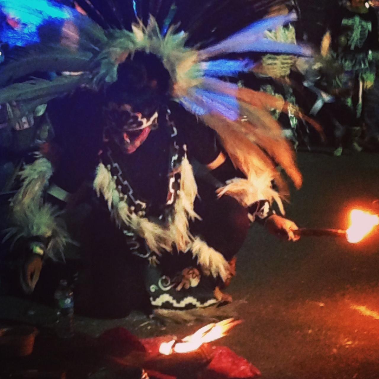 Aztec Fire Eater at Dia de Los Muertos