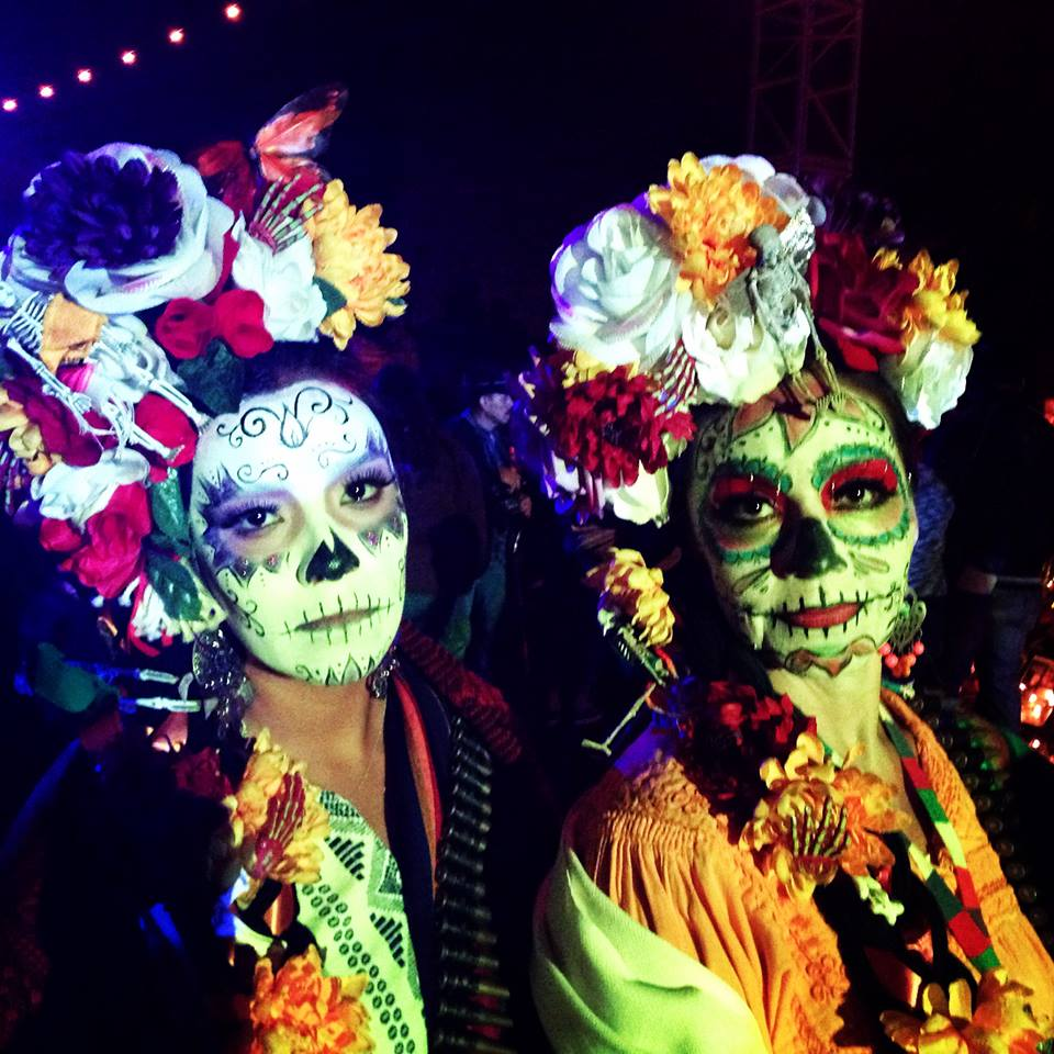 Georgina and Leticia. Daughter and mother at Dia de Los Muertos Nov 1st 2014. Hollywood Forever Cemetery. Hollywood, CA.